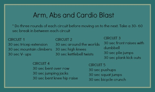arms, abs and cardio blast